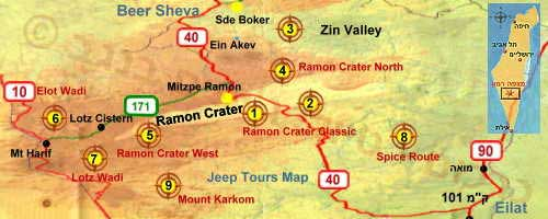Jeep tour map Negev Desert Israel