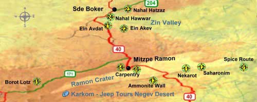 hiking sites map:  Ramon  Crater and Zin Valley
